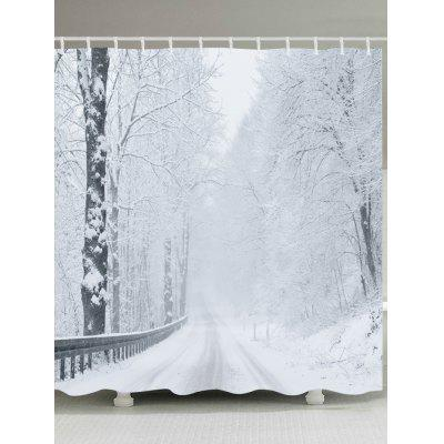 Snow Forest Road Print Fabric Waterproof Bathroom Shower Curtain