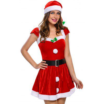 Velvet Christmas Costume OutfitLingerie &amp; Shapewear<br>Velvet Christmas Costume Outfit<br><br>Age Group: Adult<br>Characters: Holiday<br>Fabric Type: Velour<br>Gender: Women<br>Material: Polyester<br>Package Contents: 1 x Dress   1 x Hat   1 x T-back   1 x Belt<br>Sleeve Length: Short<br>Weight: 0.4700kg