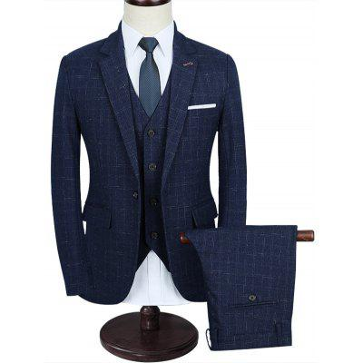 Plaid One Button Three Piece Suit