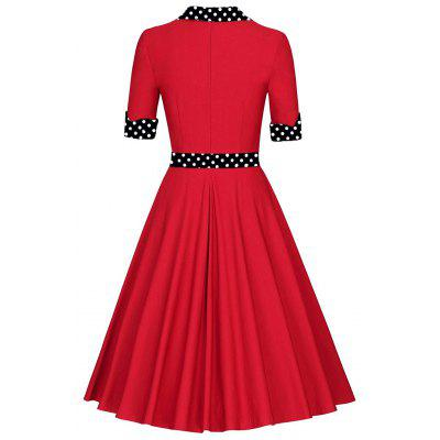 Vintage Polka Dot Pinup Skater DressWomens Dresses<br>Vintage Polka Dot Pinup Skater Dress<br><br>Dresses Length: Knee-Length<br>Material: Polyester, Spandex<br>Neckline: Turn-down Collar<br>Package Contents: 1 x Dress<br>Pattern Type: Polka Dot<br>Season: Spring, Fall<br>Silhouette: A-Line<br>Sleeve Length: Short Sleeves<br>Style: Vintage<br>Weight: 0.4300kg<br>With Belt: No