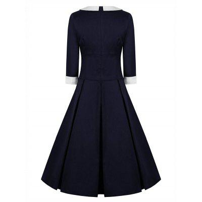 Vintage Flat Collar Pin Up Skater DressWomens Dresses<br>Vintage Flat Collar Pin Up Skater Dress<br><br>Dresses Length: Knee-Length<br>Material: Cotton, Polyester<br>Neckline: Flat Collar<br>Package Contents: 1 x Dress<br>Pattern Type: Patchwork<br>Season: Spring, Fall<br>Silhouette: A-Line<br>Sleeve Length: 3/4 Length Sleeves<br>Style: Vintage<br>Weight: 0.4500kg<br>With Belt: No