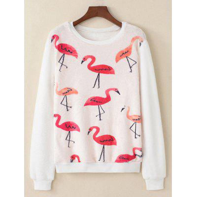 Buy WHITE M Flamingo Printed Fluffy Sweatshirt for $18.06 in GearBest store