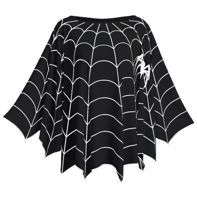 Halloween Spider Web Printed Plus Size Poncho Blouse