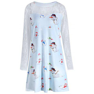 Plus Size Christmas Snowman Printed Lace Sleeve Dress