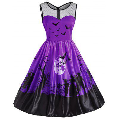 Mesh Yoke Halloween Moon Bat Print Vestido