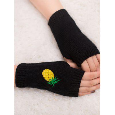 Halloween Pineapple Embroidery Exposed Finger Knitted Gloves