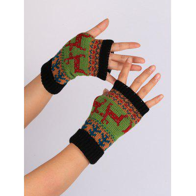 Christmas Deer Decorated Flanging Fingerless Gloves