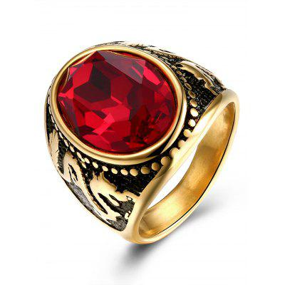 Buy GOLDEN 7 Vintage Faux Ruby Engraved Dragon Oval Ring for $6.15 in GearBest store