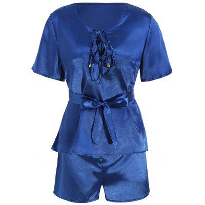 Plunge Top with Shorts Satin Pajama Suit