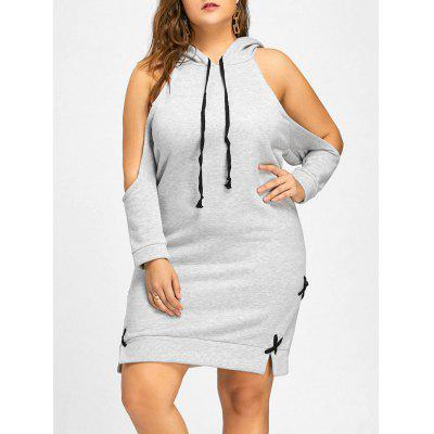 Lace Up Cold Shoulder Flocking Plus Size Hoodie Dress 2298 Free