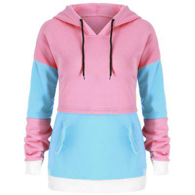 Drawstring Color Block Tunic Hoodie