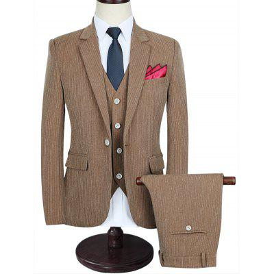 Slim-fit Pinstriped Business Three Piece Suit