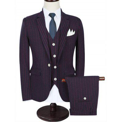Notch Lapel 3 Piece Pinstripe Suit