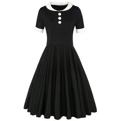 Fit and Flare Button Embellished Vintage Dress