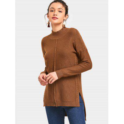 High Neck Side Slit High Low Sweater