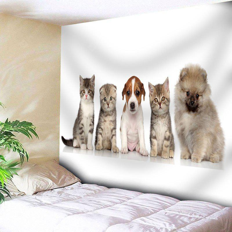 WHITE Cat Dog Print Wall Art Animal Tapestry