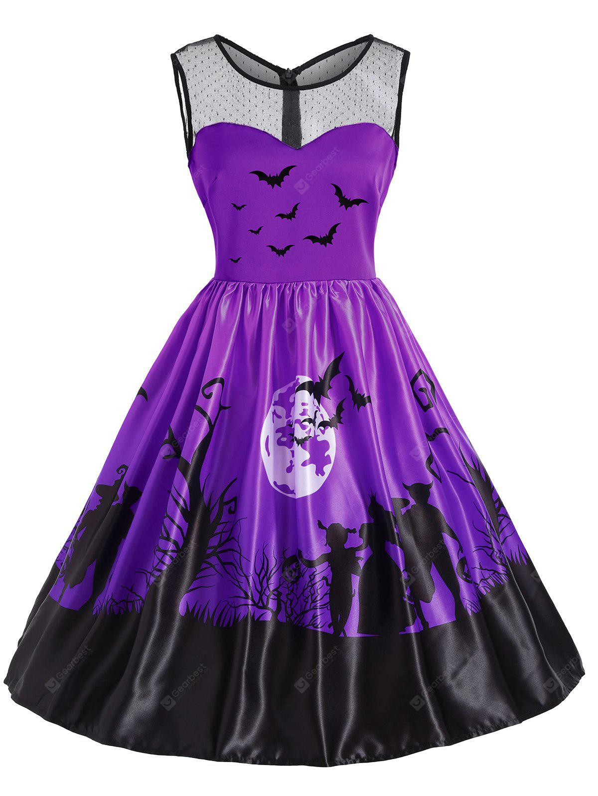 Mesh Yoke Halloween Moon Bat Print Dress
