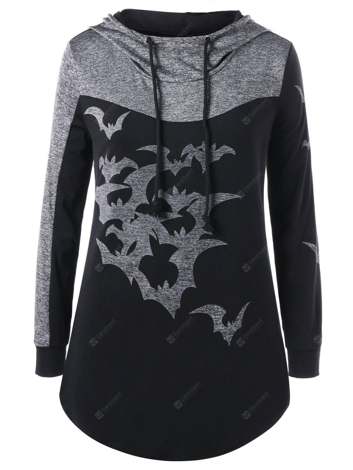 Halloween Plus Size Two Tone Curved Hoodie