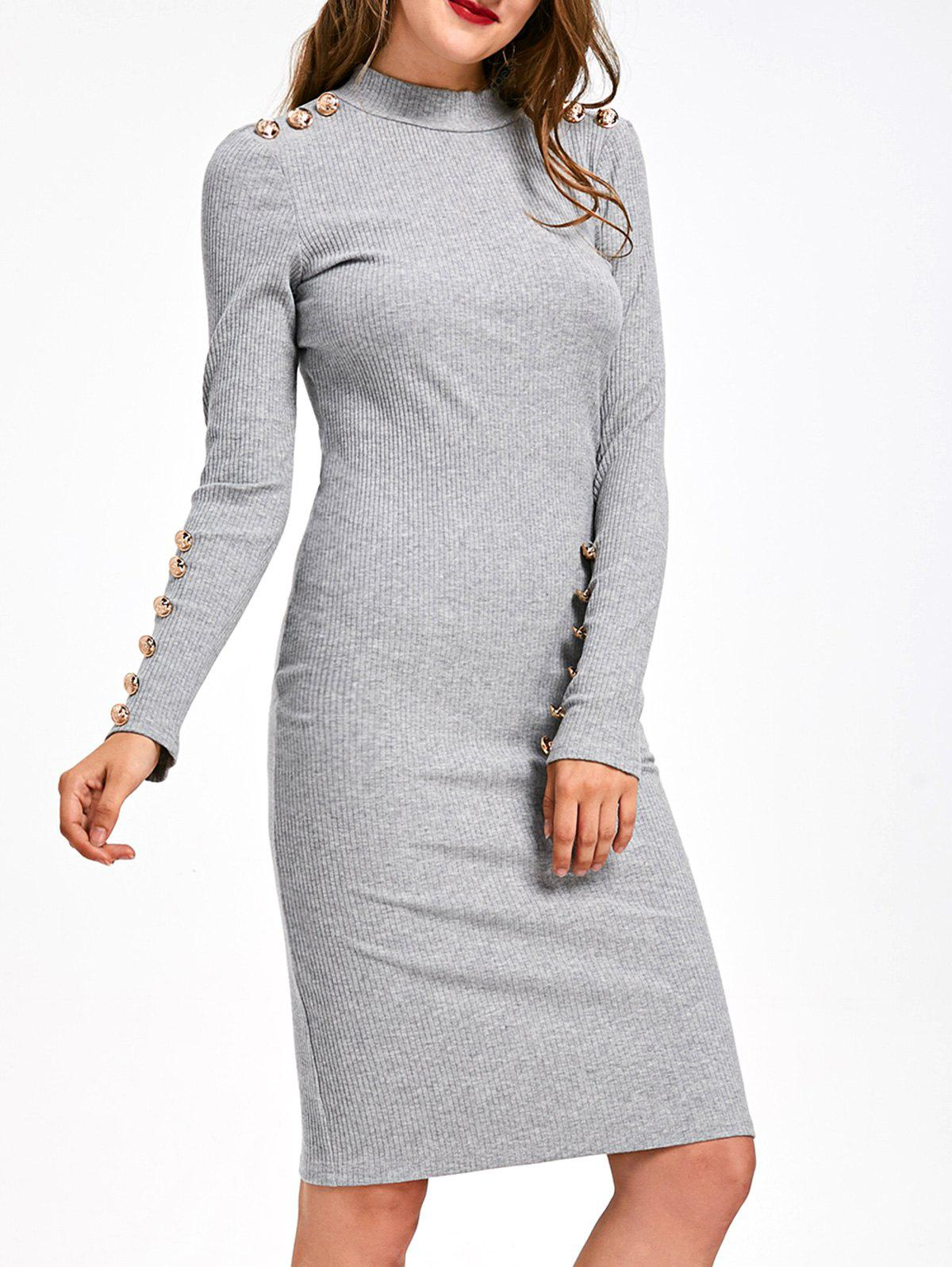 Tanga a coste abbellito Longcontainer Bodycon Dress