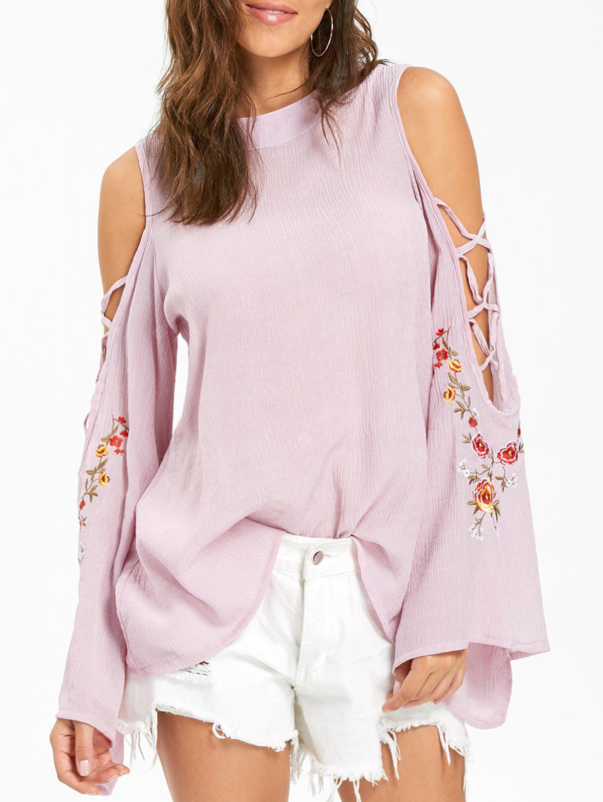 Embroidered Cold Shoulder Bell Sleeve Blouse XL PINK