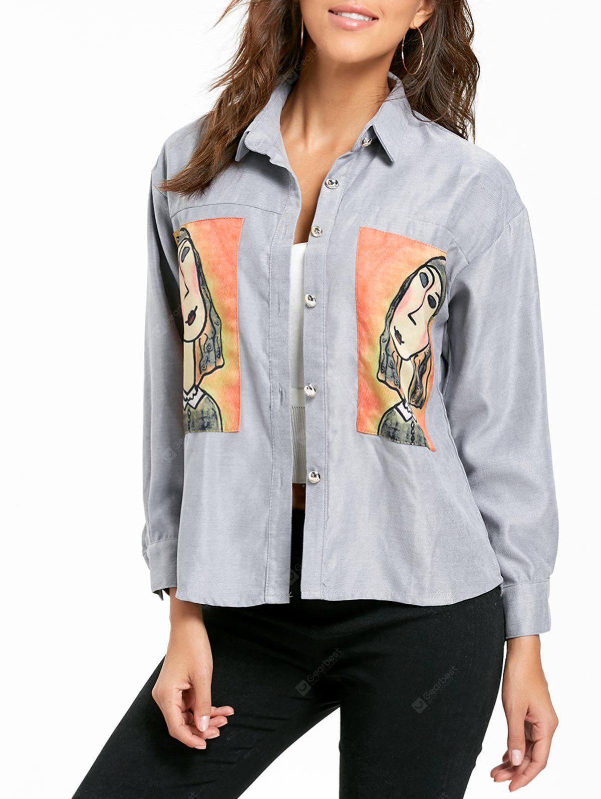 Long Sleeve High Low Character Patch Shirt