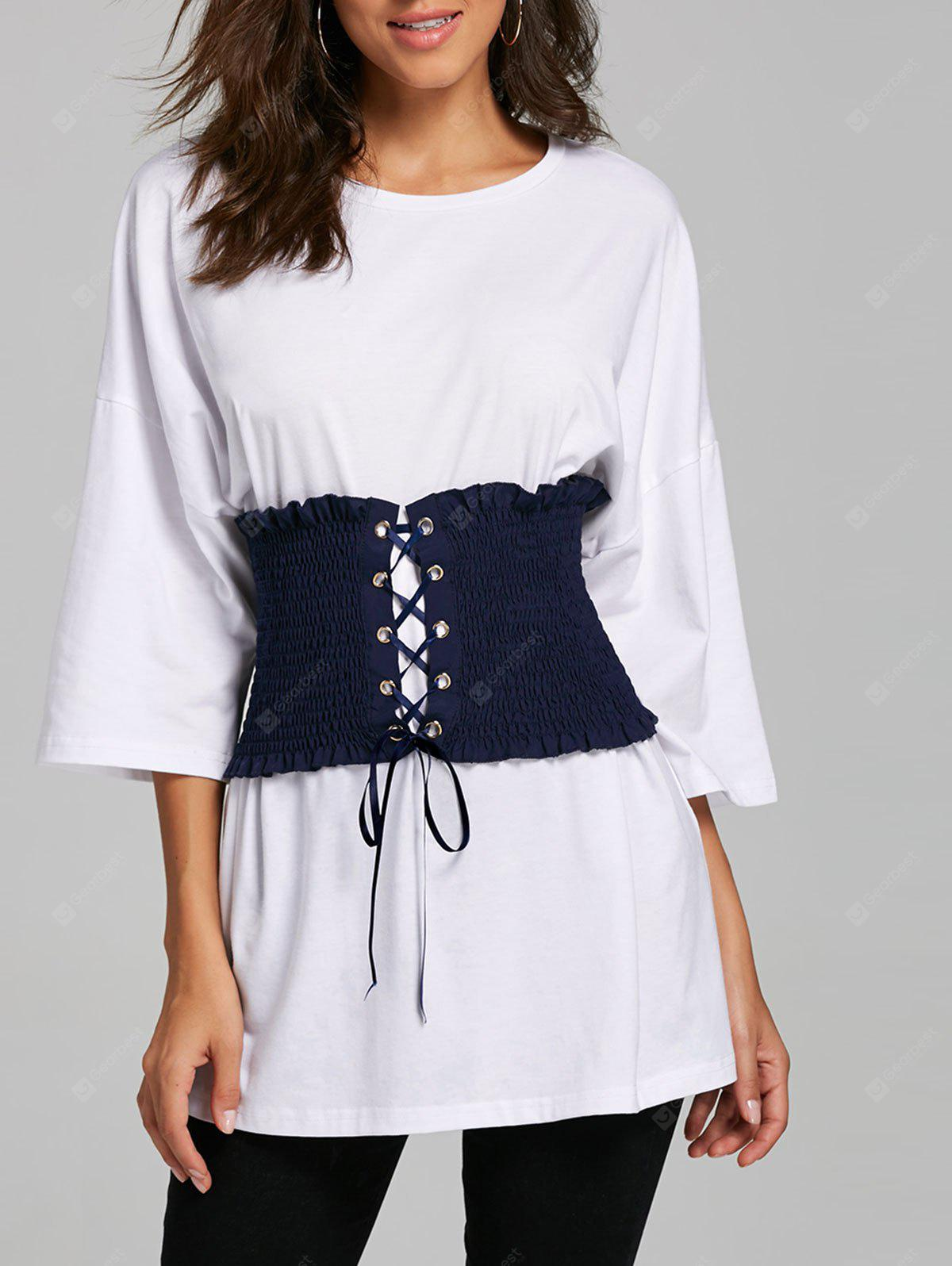 Corset Belt Drop Shoulder Tunic T-shirt