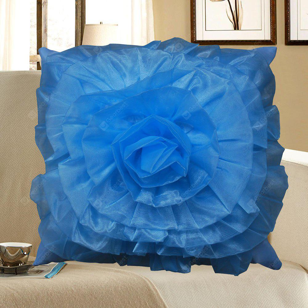 BLUE Stereoscopic Rose Shape Pillow Case