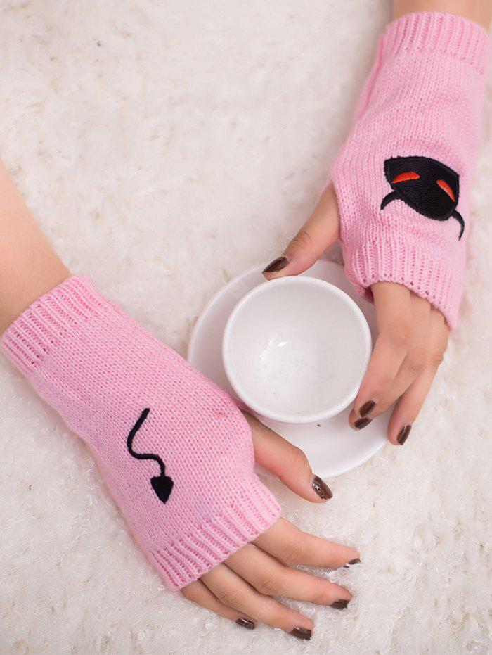 Halloween Devil Embroidery Exposed Finger Knitted Gloves