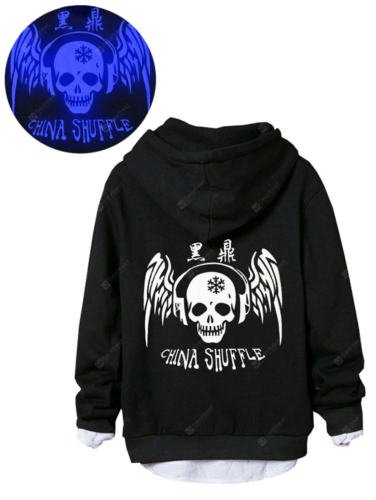 Skull Chinese Print Luminous Zip Up Hoodie