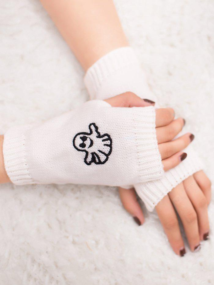 Halloween Ghost Embroidery Exposed Finger Knitting Gloves