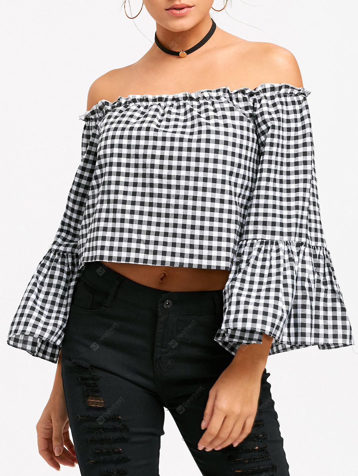 Off The Shoulder Bell Sleeve Plaid Cropped Blouse