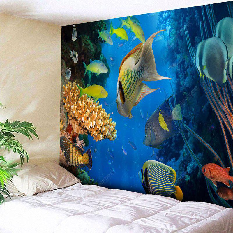 BLUE Fish Print Wall Hanging Sea World Tapestry