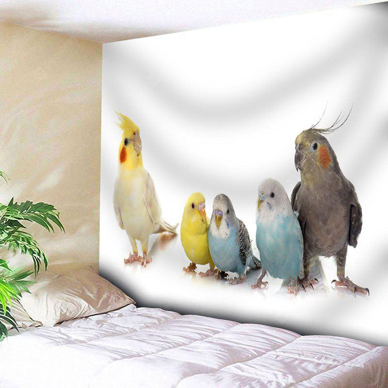 WHITE Parrot Print Wall Hanging Animal Tapestry