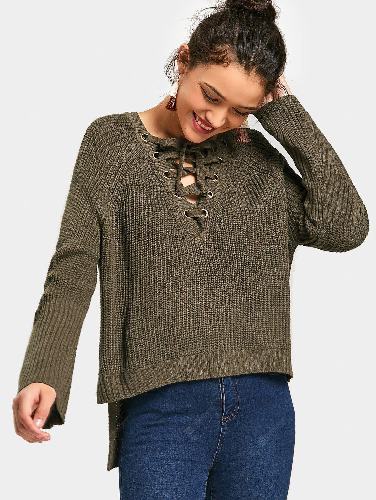 Lace Up Side Slit High Low Sweater