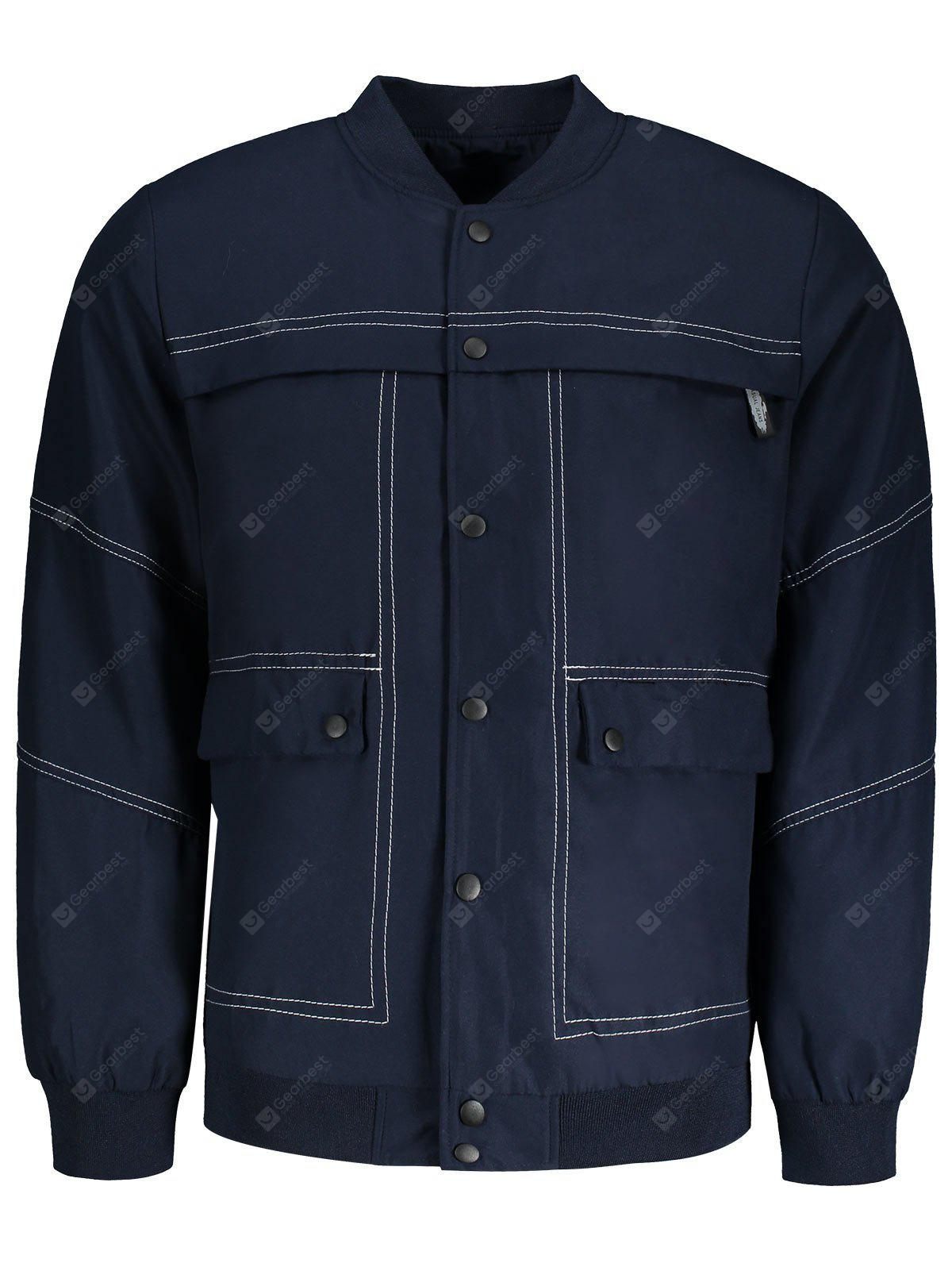 BLUE XL Sanp-button Mens Bomber Jacket