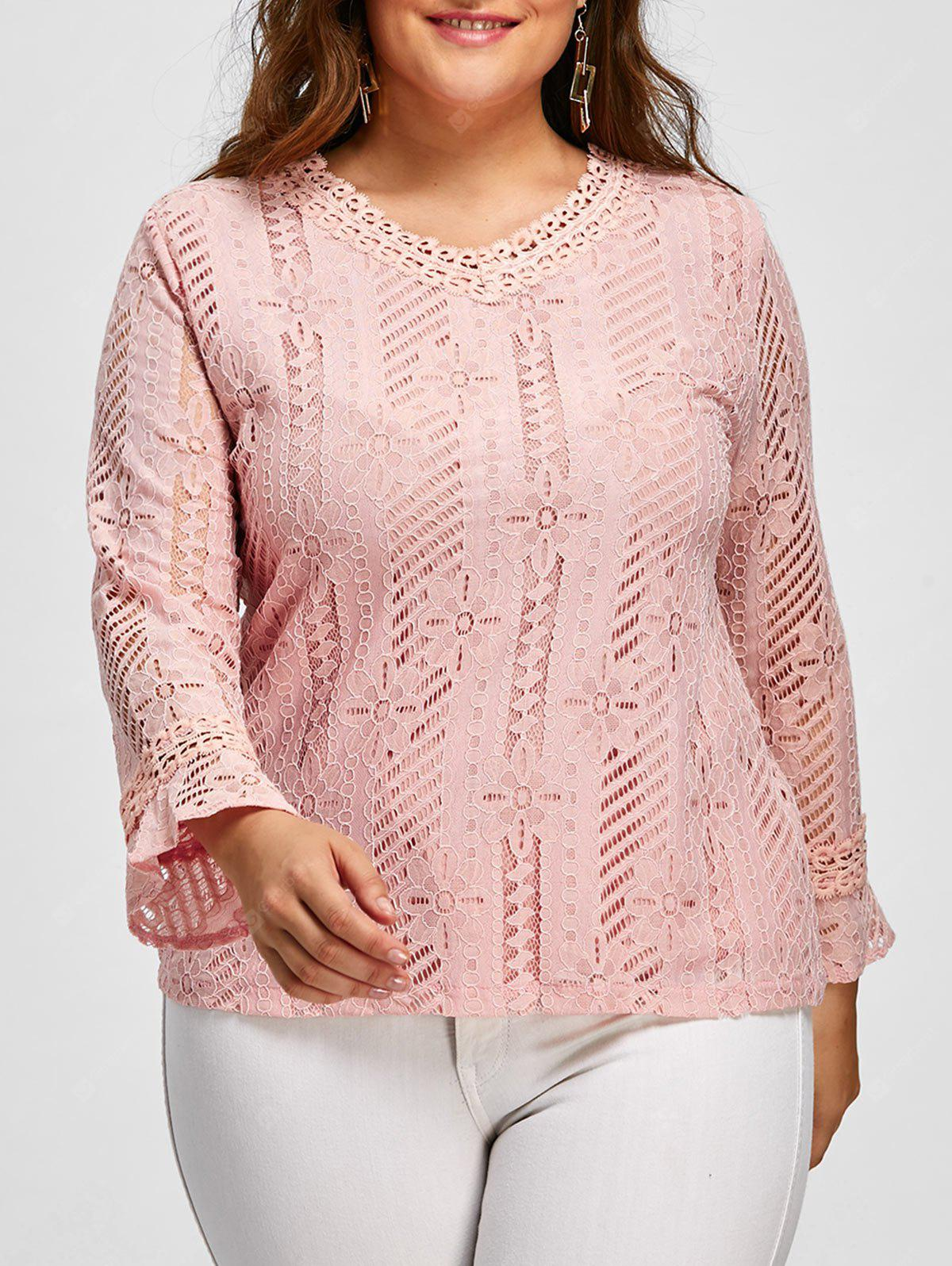 V Neck Plus Size Lace Blouse