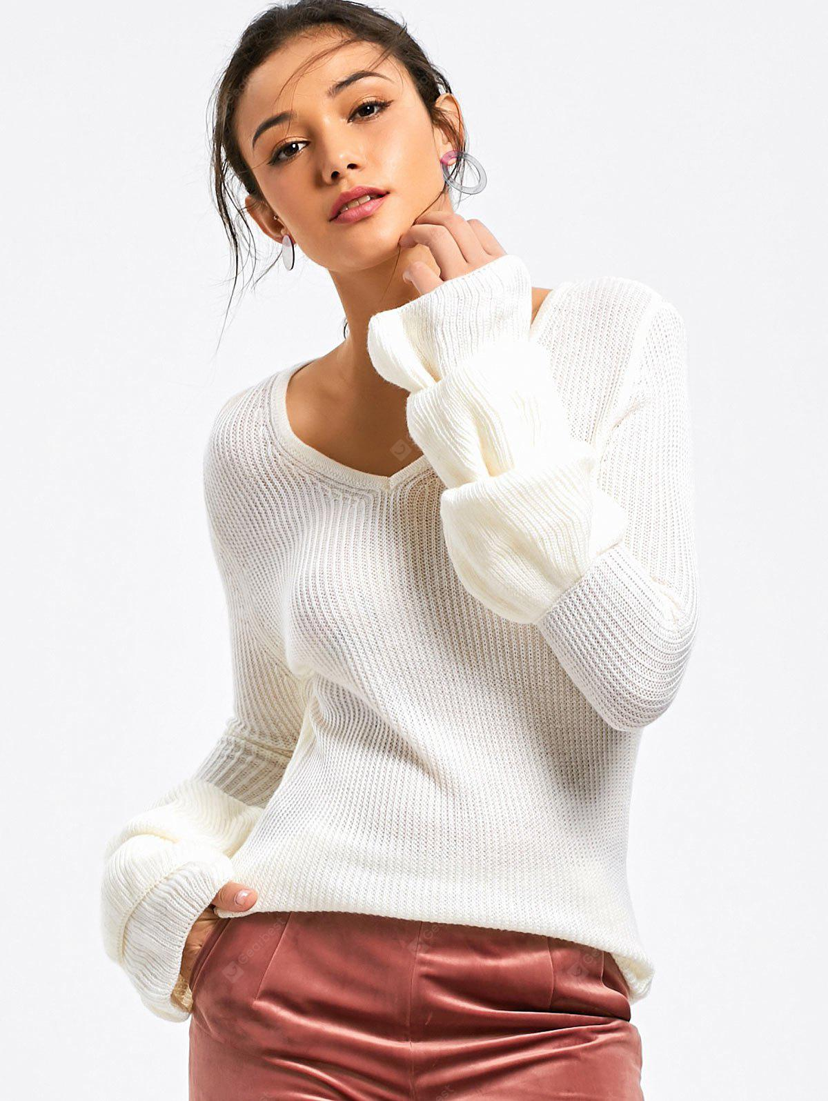 V Neck Layered Sleeve Sweater