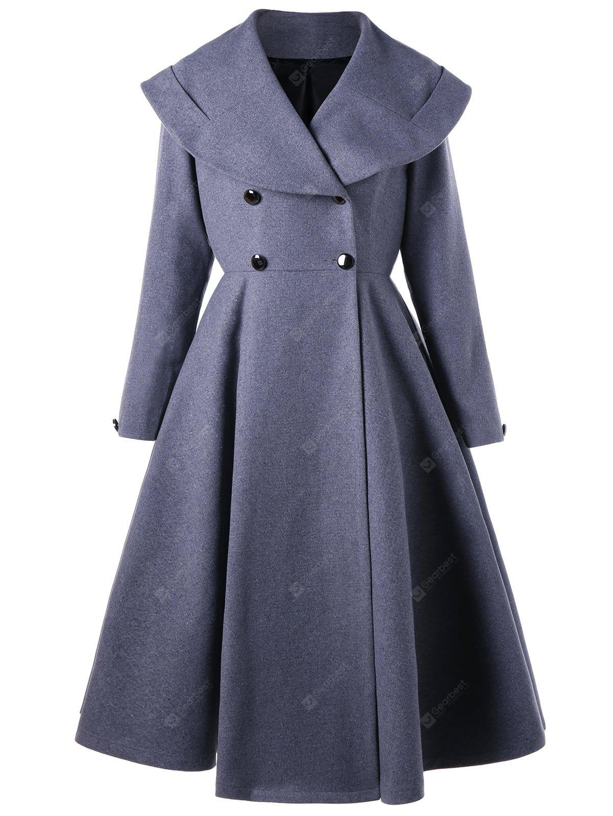 Double Breasted Fit and Flare Waterfall Coat
