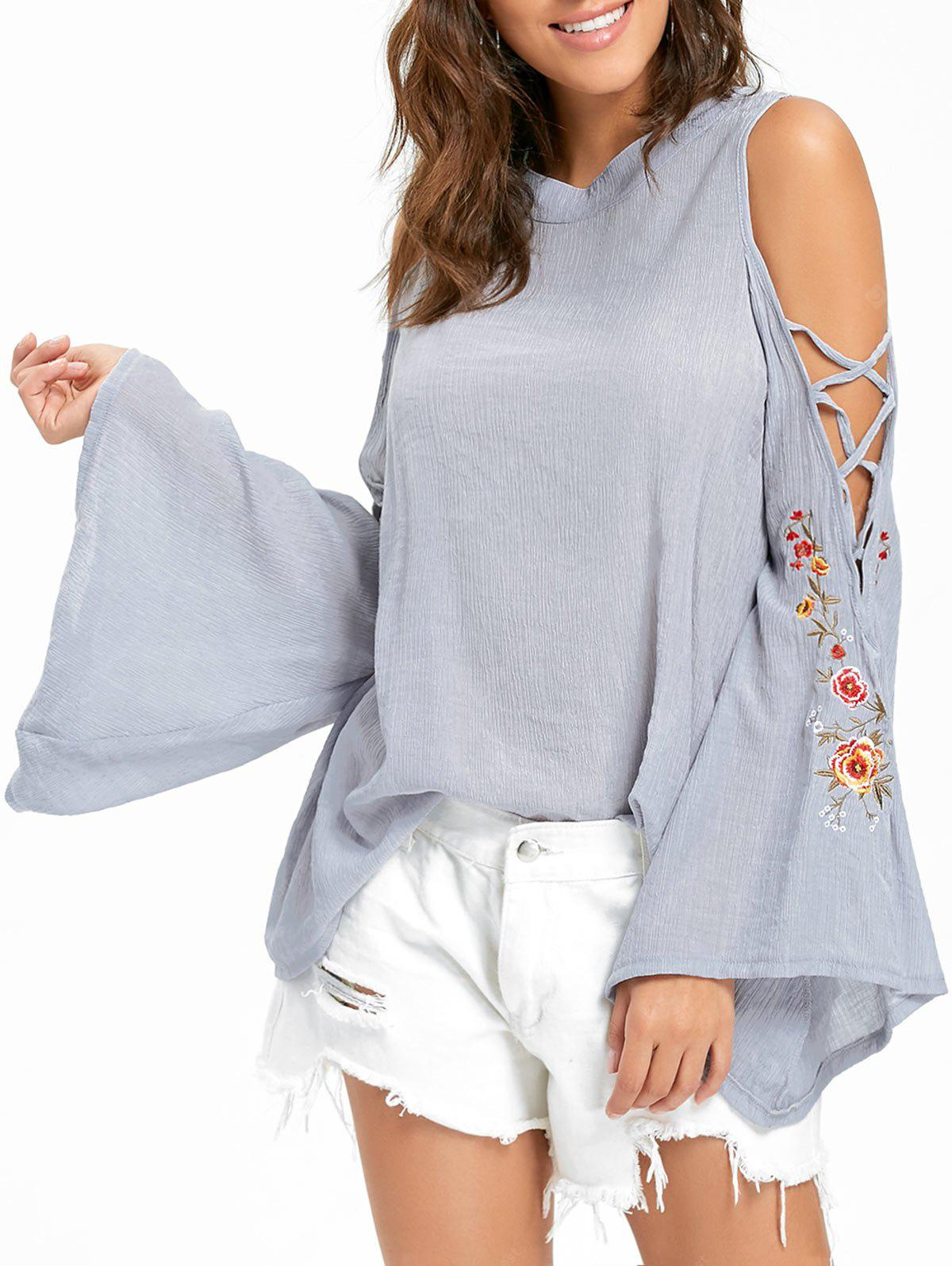 Embroidered Cold Shoulder Bell Sleeve Blouse XL GRAY
