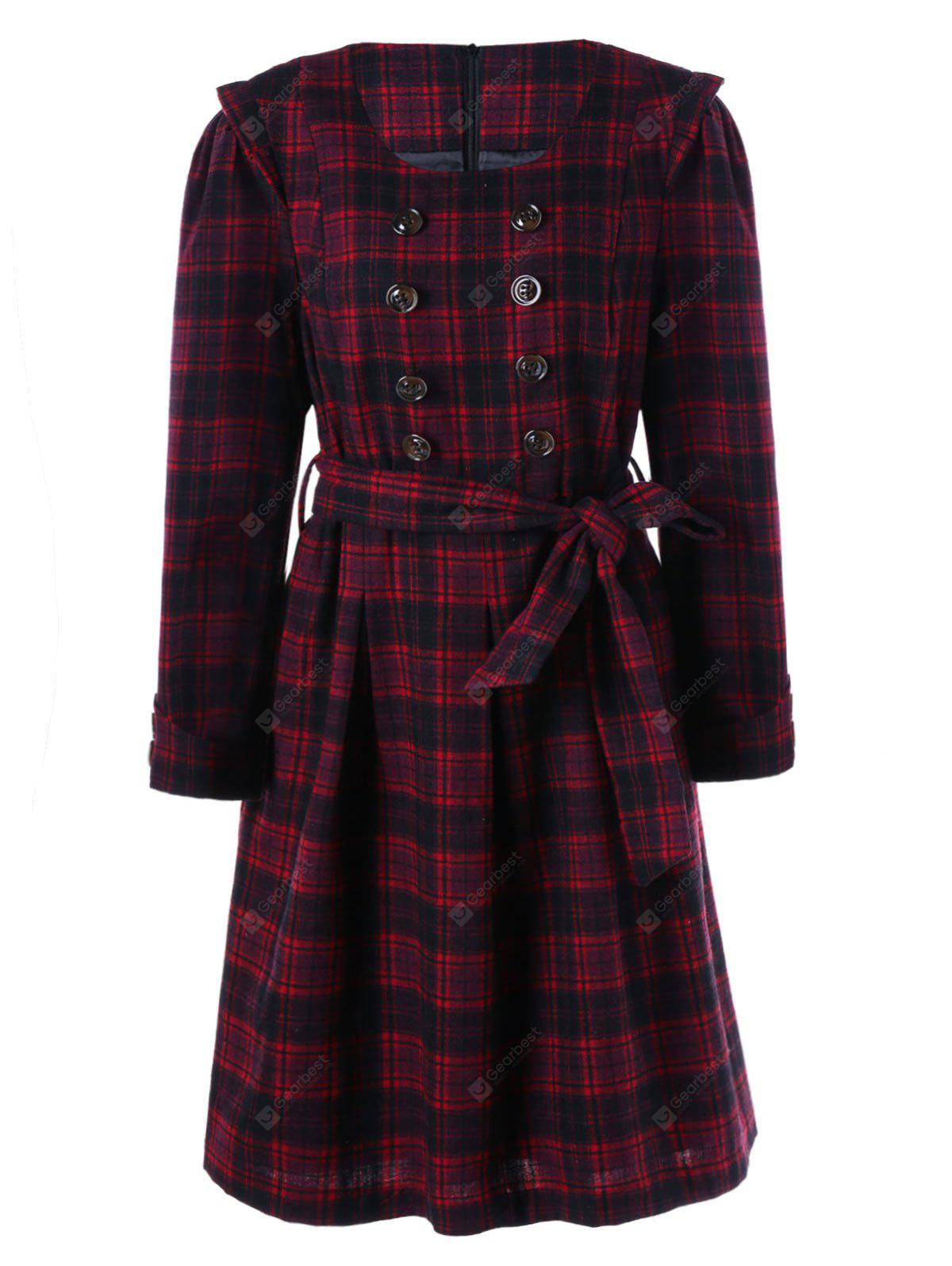 Long Sleeve Checked Dress with Buttons