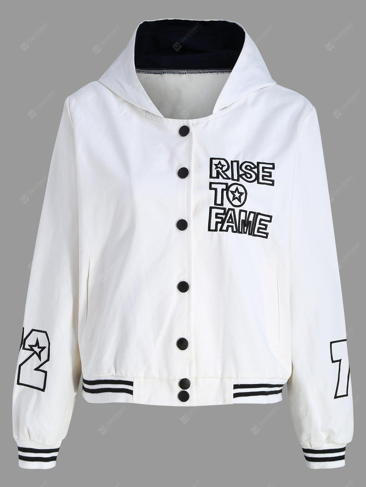 Hooded Button Down Grafik-Baseball-Jacke