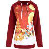 Christmas Santa Claus Elk Print Plus Size Hoodie - WINE RED