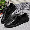 Patent Leather Lace Up Casual Shoes - BLACK