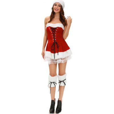 Strapless Velvet Christmas Costume