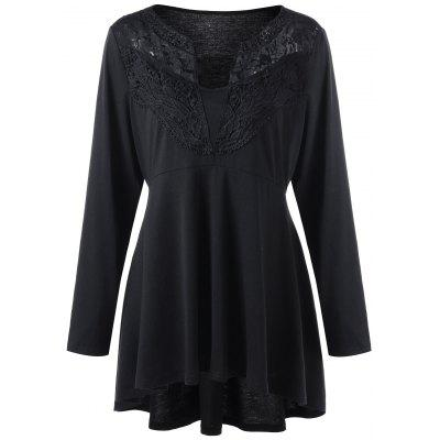 Plus Size Lace Trim High Low Hem Top