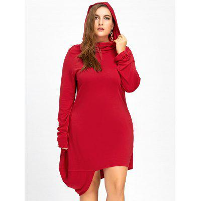 Plus Size Cowl Neck High Low Dress with Pockets