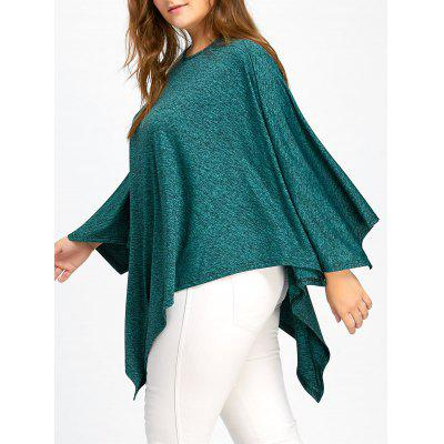 Plus Size Batwing Sleeve Asymmetric Poncho Top