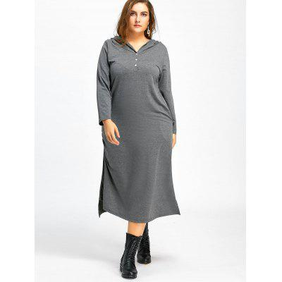 Plus Size Midi Hoodie Dress with PocketsPlus Size Dresses<br>Plus Size Midi Hoodie Dress with Pockets<br><br>Dresses Length: Mid-Calf<br>Embellishment: Button,Ruched<br>Material: Polyester<br>Neckline: Hooded<br>Package Contents: 1 x Dress<br>Pattern Type: Solid Color<br>Season: Fall, Winter<br>Silhouette: Straight<br>Sleeve Length: Long Sleeves<br>Style: Casual<br>Weight: 0.6500kg<br>With Belt: No