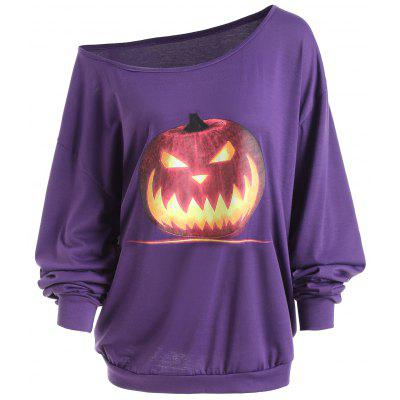 Buy PURPLE XL Plus Size Halloween Angry Pumpkin Skew Neck Tee for $18.06 in GearBest store
