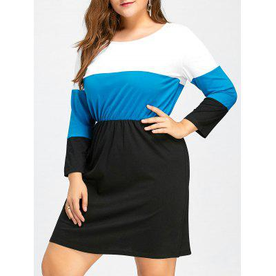 Plus Size Color Block Elastic Waist Fitted Dress